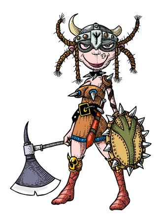 Cartoon image of female viking  イラスト・ベクター素材