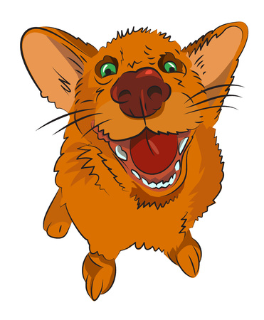 wagging: Cartoon image of happy dog Illustration