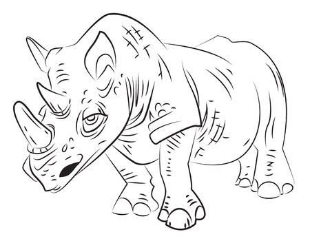 dangerous: Cartoon image of rhino