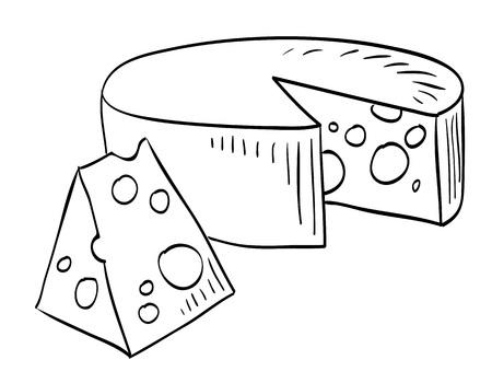 Cartoon afbeelding van kaas. Een artistieke vrijhandfoto. Stock Illustratie