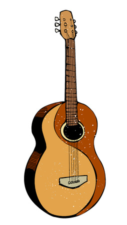Cartoon image of guitar. An artistic freehand picture. Illustration