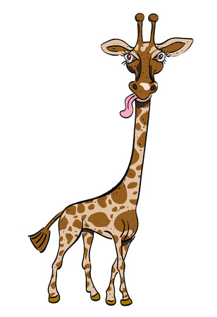 Cartoon image of giraffe. An artistic freehand picture. Illustration