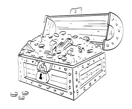 Karikaturbild der Schatztruhe. Ein künstlerisches Freihandbild. Vektorgrafik