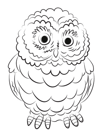Cartoon image of owl. An artistic freehand picture. Illustration