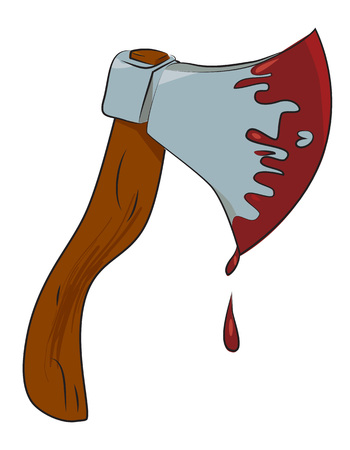 Cartoon image of bloody axe. An artistic freehand picture. Ilustração