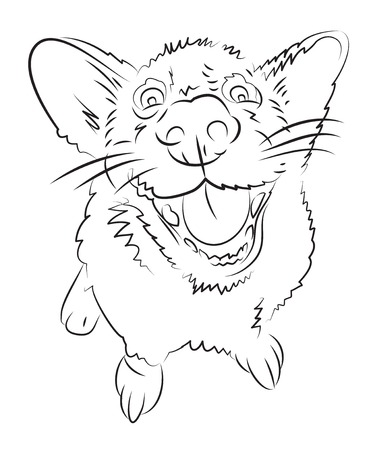 Cartoon image of happy dog. An artistic freehand picture.