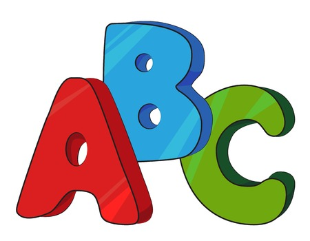 Cartoon image of ABC letters. An artistic freehand picture.