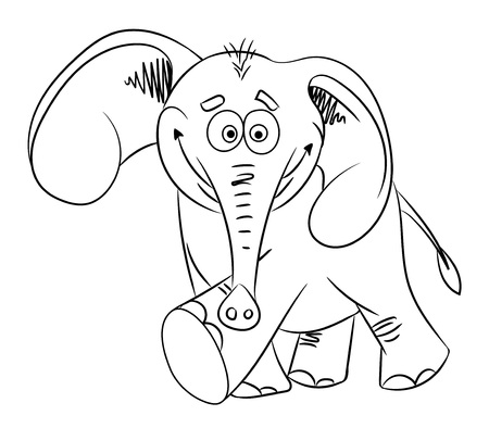 Cartoon image of dancing elephant. An artistic freehand picture. Illustration