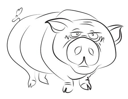 clumsy: Cartoon image of huge pig. An artistic freehand picture.