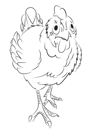 Cartoon image of chicken. An artistic freehand picture. Illustration