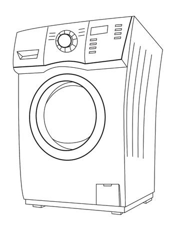 Cartoon afbeelding van wasmachine. Een artistieke afbeelding uit de vrije hand. Vector Illustratie