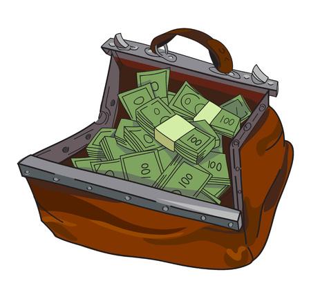 Image de bande dessinée d'un énorme sac d'argent. Une image artistique à main levée.