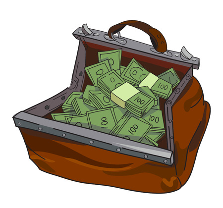 Cartoon image of huge bag of money. An artistic freehand picture.
