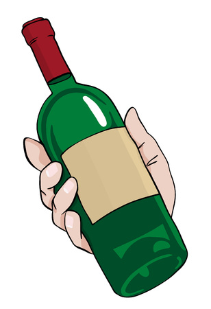 dinner date: Cartoon image of hand holding bottle of wine. An artistic freehand picture. Illustration