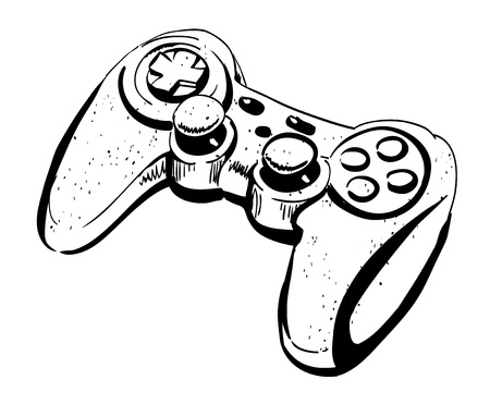 Cartoon image of joystick. An artistic freehand picture.