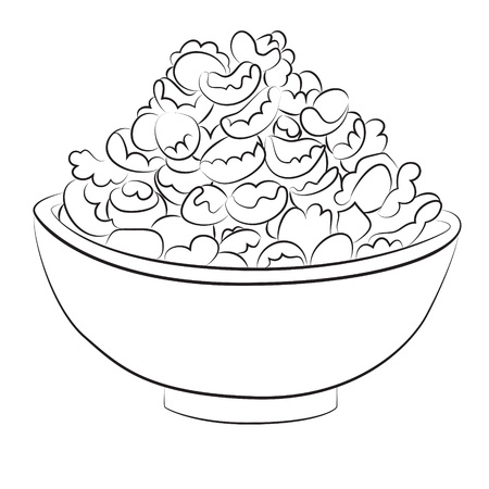 cereal bowl: Cartoon image of bowl of cereal. An artistic freehand picture.