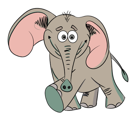 goffo: Cartoon image of dancing elephant. An artistic freehand picture. Vettoriali