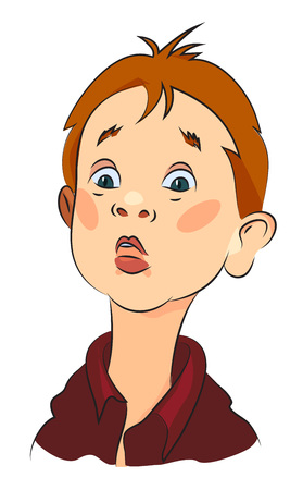 Cartoon image of amazed boy. An artistic freehand picture.