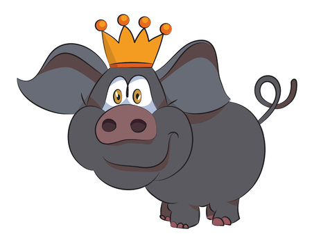 Cartoon image of crowned pig. An artistic freehand picture. Illustration