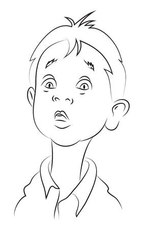 Image de bande dessinée d'un garçon émerveillé. Une image artistique à main levée.