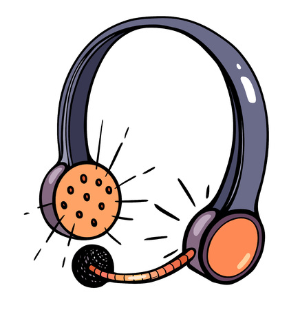 Cartoon image of call center headset. An artistic freehand picture.