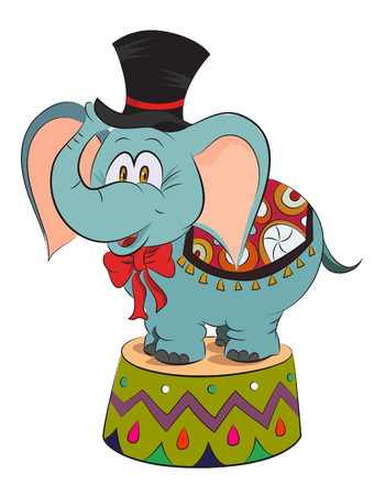 goffo: Cartoon image of elephant wearing circus hat. An artistic freehand picture. Vettoriali