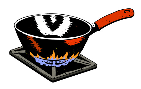 Cartoon image of frying pan on fire. An artistic freehand picture.