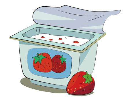 Cartoon image of yogurt. An artistic freehand picture. Stock Illustratie