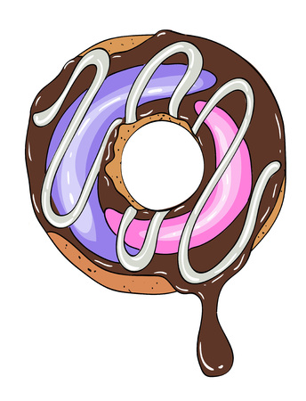Cartoon image of doughnut. An artistic freehand picture.