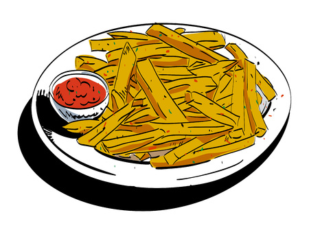 salt free: Cartoon image of french fries. An artistic freehand picture.