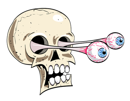 Cartoon image of ancient spooky skull. An artistic freehand picture.