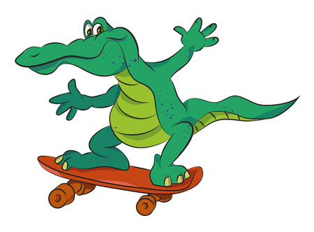 alligator isolated: Cartoon image of amazing skateboarding alligator. An artistic freehand picture.