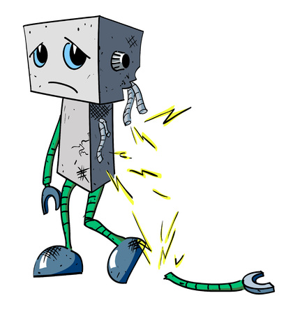 Cartoon image of broken robot. An artistic freehand picture.