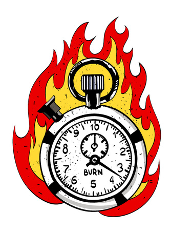 flaming: Cartoon image of flaming stop watch. An artistic freehand picture. Illustration
