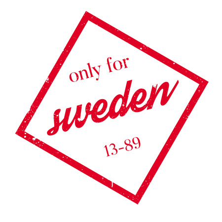Only For Sweden rubber stamp. Grunge design with dust scratches. Effects can be easily removed for a clean, crisp look. Color is easily changed. Illustration