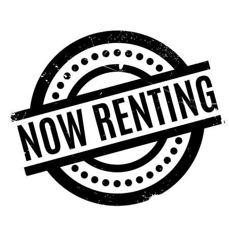 Now Renting rubber stamp Stock Photo