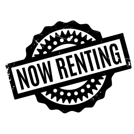 promptly: Now Renting rubber stamp Stock Photo