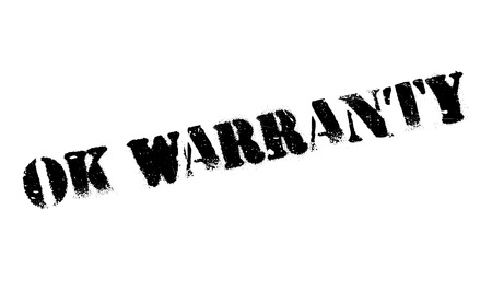 Ok Warranty rubber stamp