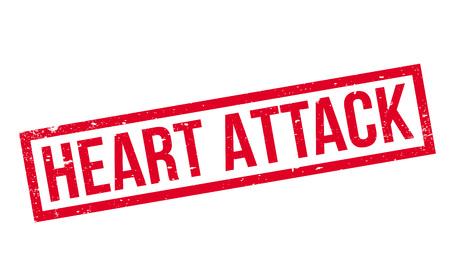 myocardial infarction: Heart Attack rubber stamp. Illustration