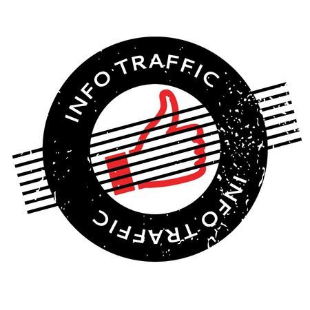 acquaintance: Info Traffic rubber stamp. Grunge design with dust scratches. Effects can be easily removed for a clean, crisp look. Color is easily changed. Illustration