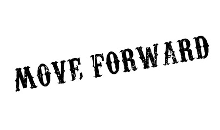 Move Forward rubber stamp. Grunge design with dust scratches. Effects can be easily removed for a clean, crisp look. Color is easily changed. Illustration