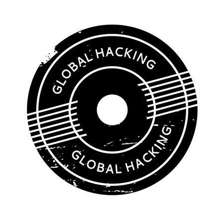 hacked: Global Hacking rubber stamp Illustration