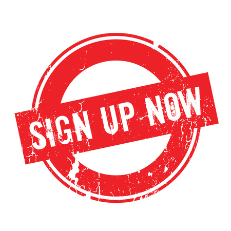 Sign Up Now rubber stamp. Grunge design with dust scratches. Effects can be easily removed for a clean, crisp look. Color is easily changed.