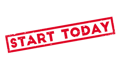 Start Today rubber stamp. Grunge design with dust scratches. Effects can be easily removed for a clean, crisp look. Color is easily changed.