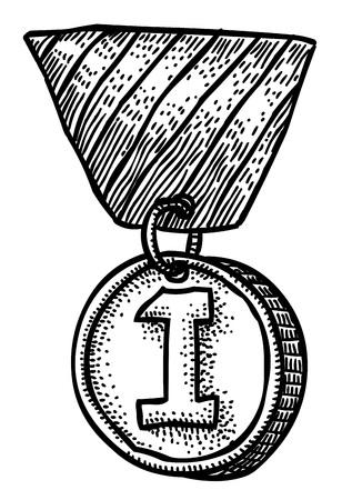 Cartoon afbeelding van eerste plaats medaille