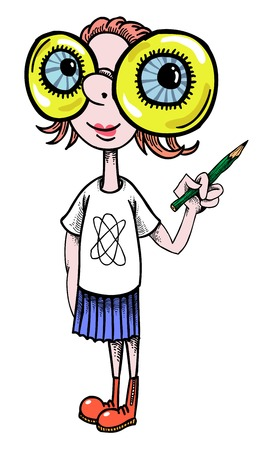 geeky: Cartoon image of geeky girl