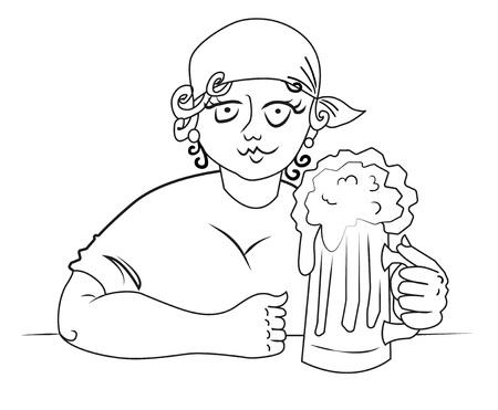 beer stein: Cartoon image of hard working woman with beer