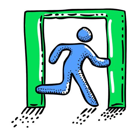 Cartoon afbeelding van afrit pictogram. Verlaat het symbool Stock Illustratie