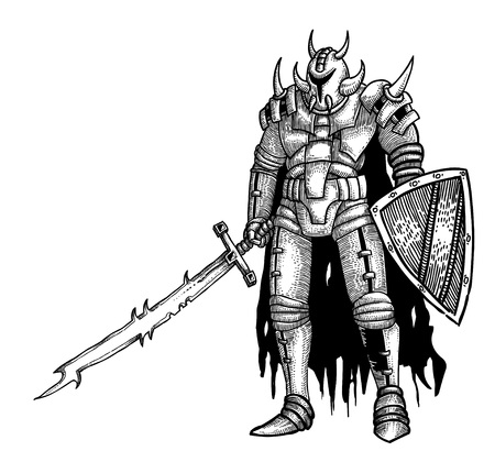 gi: Cartoon image of warrior with sword Illustration