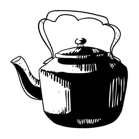 Cartoon image of old black kettle